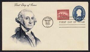 #U542 2 1/2c George Washington, Unknown FDC ANY 5=