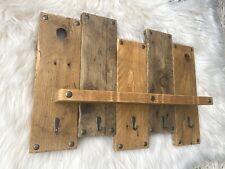 Handmade wooden shelf key holder kitchen rustic farmhouse bathroom art organiser