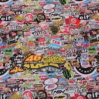 "1520mm x 500mm  ""Motor Racing"" Stickerbomb, Sticker Bombing Sheets Bubble Free"