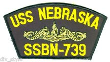 USS Nebraska SSBN-739 embroidered patch US Navy nuclear submarine gold dolphins