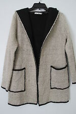 Grifflin Paris Beige/Black Open Front Long Soft Hooded Sweater Coat NWOT SIZE:S
