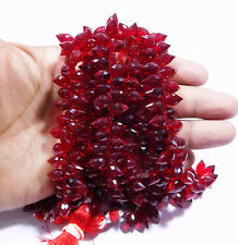 Red Ruby Hydro Quartz Facetedd Barrel beads 7x11 mm Side Drill 7 Inch Strand