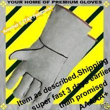 Welding Rotisserie Gray Premium LEATHER Firewood Shop Cowhide Work 1 Pr Gloves