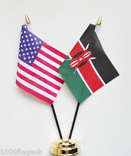 United States of America & Kenya Double Friendship Table Flags