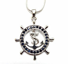Nautical Ship Wheel Anchor Pendant Necklace Navy Blue Crystals Gift Boxed