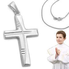 Kinder Gravur Kreuz Anhänger Zur Ersten Hl. Kommunion mit Kette Silber 925