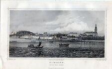 Antique print: Nijmegen van de Waal gezien 1860 / copper engraving Terwen