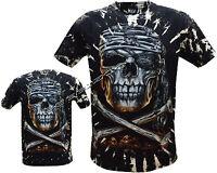 New Skull & Crossbones Pirate Glow In Dark Tattoo Goth Tye Dye T-Shirt M - 3XL
