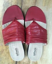 Softwalk Red Leather Thong/Flip-Flop Comfort Sandals - Size 7W - Lightly Used