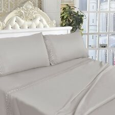 4 Piece 1600 Count Bed Sheet Set Deep Pocket Chemical Lace 6 Color 5 Size New