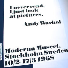 ANDY WARHOL I NEVER READ OFFICIAL SWEDEN GALLERY POSTER MINT HUGE