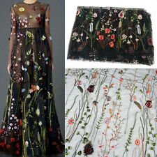 135X100cm Floral Flower Embroidery Black Mesh Wedding Bridal Veil Lace Fabric