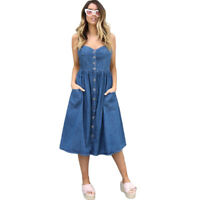 US Womens Blue Denim Strappy Front Button Casual Summer Pocket Ladies Midi Dress