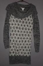 Candies Women's Cowl Neck Sweater Dress jr- LARGE - Black White Loose Knit NWT
