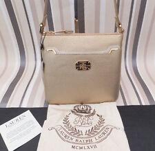 RALPH LAUREN Genuine Ladies ACADIA Gold Cross Body Shoulder Bag BNWT & Dust Bag