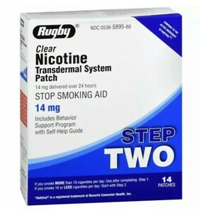 RUGBY CLEAR Nicōtinë Transdermal System Patch~Step 2~14mg~14 Patches EXP 08/2023