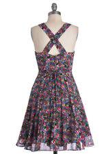 Modcloth Dylan and Rose dress black blue pink floral fit and flare small new