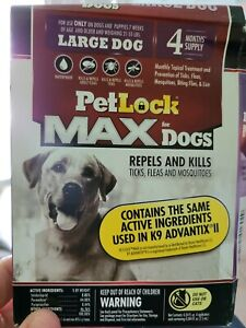 PetLock Max Flea & Tick Treatment for Large Dogs 21 to 55 lbs, 4 Month Supply