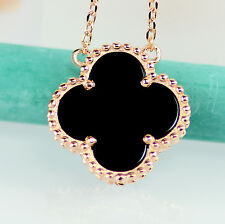 Rose Gold & 925 Sterling Silver Lucky Clover Black Onyx Women Necklace
