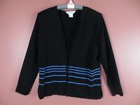TB04409- EXCLUSIVELY MISOOK Woman Stretch Knit Open Front Cardigan Black Blue S