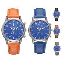 Men Women's Blue Dial Watch Fashion PU Leather Strap Analog Quartz Wrist Watches