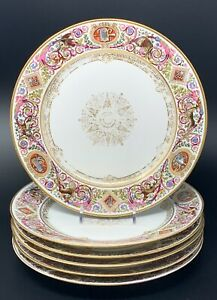 "SET OF 6 SEVRES CHATEAU FONTAINEBLEAU 9 1/2"" HUNTING SCENE SERVICE PLATES"