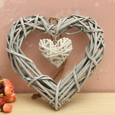 Natural Wicker Love Heart Shape Wreath Hanging Wedding Birthday Party Home Decor
