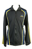 Vintage Adidas Mens Full Zip Tracksuit Top Three Stripes 42/44 Black - SW2503