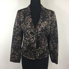 Linda Allard Ellen Tracy Plum Brown Silk Cotton Blend Blazer Jacket 4 Petite