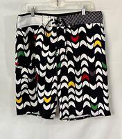 Quicksilver Mens Swim Trunks Board Shorts Black White Pattern Size 34 EUC