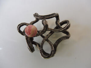 Beautiful, old Brooch__Design-Brosche__925 Silver With Stone __ 16, 8 Gram