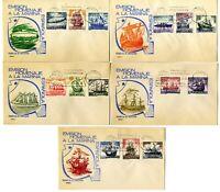 5 Sobres primer dia España 1964 Homenaje a la Marina Española First day Spain