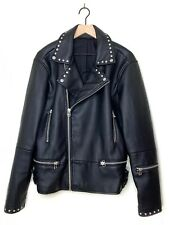 Zara Man Studded Faux Leather Jacket Sz XL Black Moto Biker