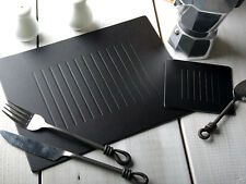 Set of 6 BLACK EMBOSSED Leatherboard PLACEMATS & 6 COASTERS