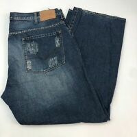 Guess Denim Jeans Mens 40X32 Blue Straight Leg Distressed 100% Cotton Washed