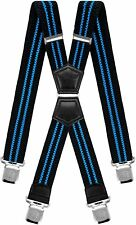 Mens Suspenders X Style Very Strong Clips Adjustable One Size Fits All Heavy...