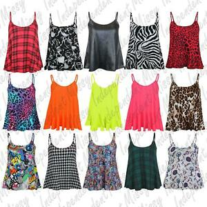 Womens Cami tops Ladies Camisoles Vest Flared Swing Strappy Plus Size Top 8-26
