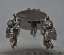 old china bronze Eros Cupid Angels Lamp stand Candle Holders Candlesticks statue