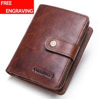 Men Genuine Leather Wallet Trifold RFID Blocking Card Holder Front Pocket Purse