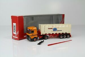 """Herpa MB Actros MP1 LH Bulk container semitrailer """"Thier Spedition"""" 144742 /H883"""