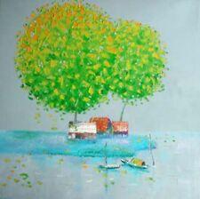 Peaceful river OOP Vietnam orig oil painting Tran Quoc Dat b1976 HTCC2001