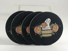 x4 Longaberger Cork Halloween Coasters Ghost Pumpkin Basket