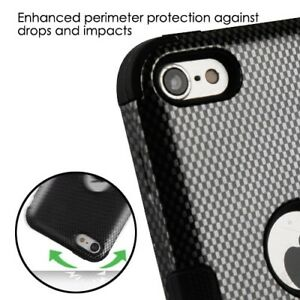 For iPod Touch 5th 6th 7th Gen -HYBRID HIGH IMPACT ARMOR CASE BLACK CARBON FIBER