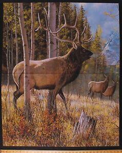 "35"" X 44"" Panel Elk Landscape Trees Animals Woodlands Fabric Panel D479.55"