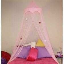 Girls Pink Floral Hoop Canopy Sheer Mosquito Netting Twin Full Size Princess Bed