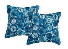 3D colour Rose Bouquet Decorative Throw Pillow Cover 16x16 Inch Blue Jeans