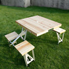 Portable Folding Wooden Outdoor Kids Picnic Camping Table Garden BBQ w/ 4seats