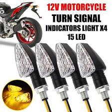 4PCS 15 LED Mini Motorcycle Motorbike Turn Signal Lights Indicators Amber Lamp