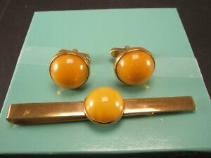 -Yellow Bakelite Quality Vintage SWANK Cuff Links & Tie Bar set simple plain