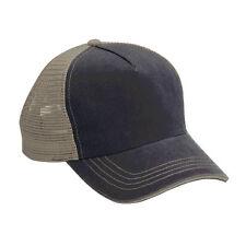 Wholesale 12 Blank Trucker Hats Blue/Khaki Cotton/Mesh Adjustable